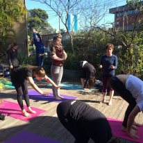 Morning yoga for the PACT Collective